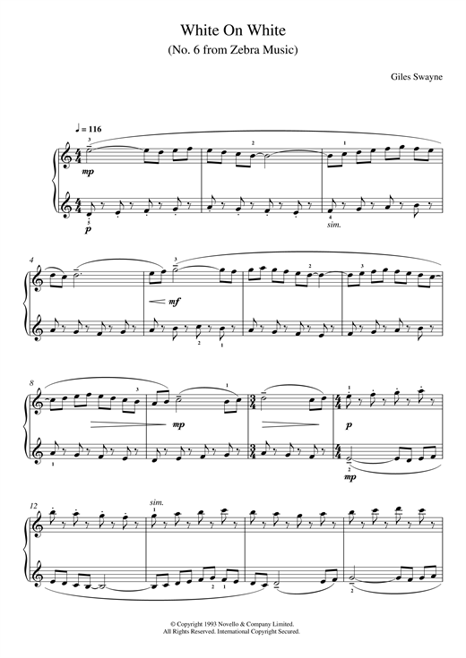 page one of White On White (No. 6 from Zebra Music)ASALTTEXT