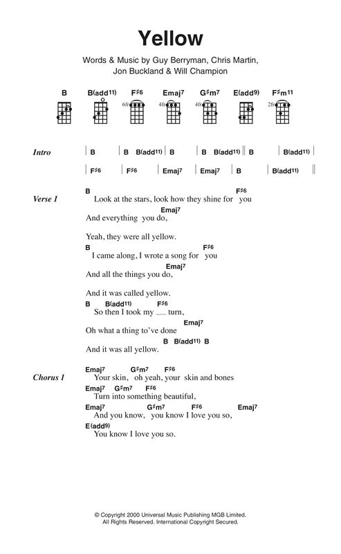 yellow sheet music by coldplay  ukulele lyrics  u0026 chords