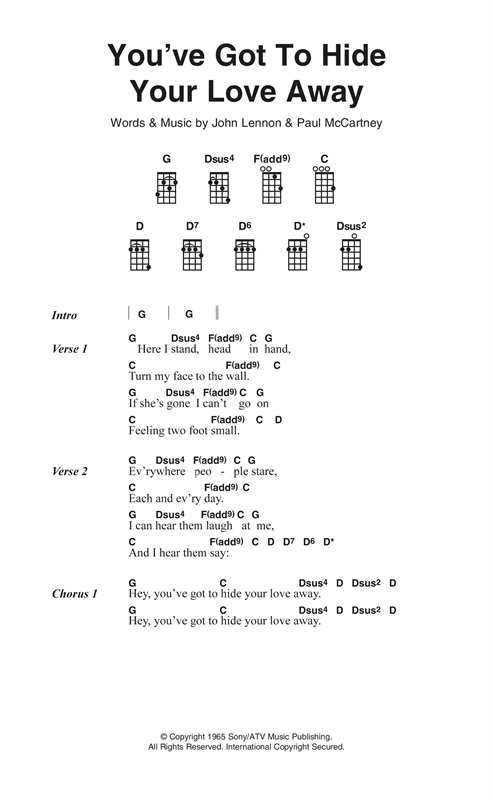Youve Got To Hide Your Love Away Sheet Music By The Beatles