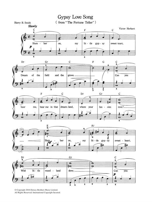 Gypsy Love Song (Piano & Vocal) - Print Sheet Music Now