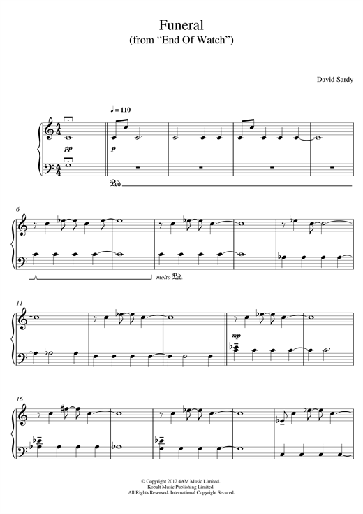 "Funeral (From ""End Of Watch"") Sheet Music"