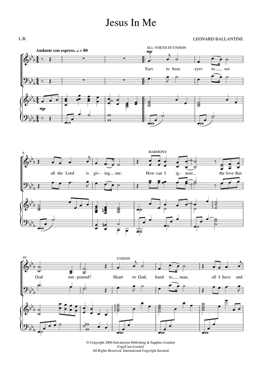 Jesus In Me Sheet Music