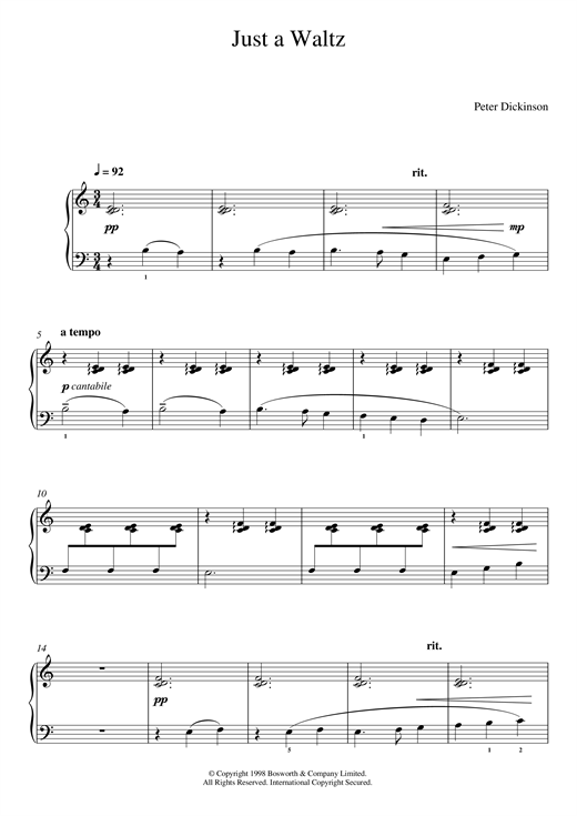 page one of Just A Waltz (From 'Eight Very Easy Pieces For Piano')ASALTTEXT