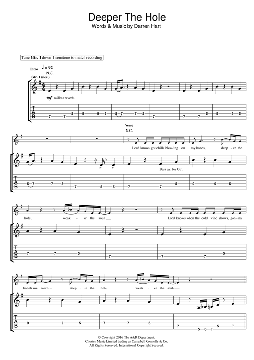 Deeper The Hole Sheet Music
