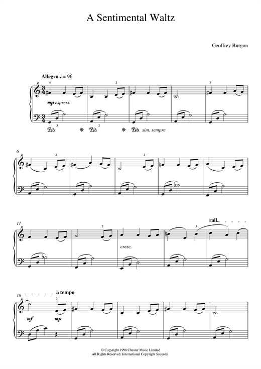 page one of Sentimental Waltz (From 'Nine Easy Pieces For Piano')ASALTTEXT
