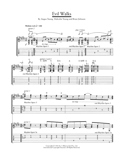 Evil Walks Sheet Music