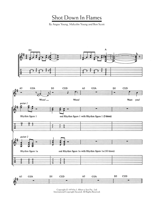 Shot Down In Flames Sheet Music