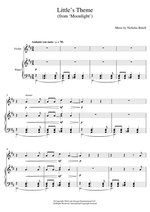 page one of Little's Theme (from 'Moonlight')ASALTTEXT