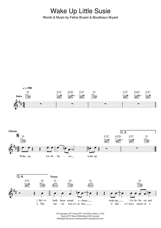 Wake Up Little Susie (Lead Sheet / Fake Book)