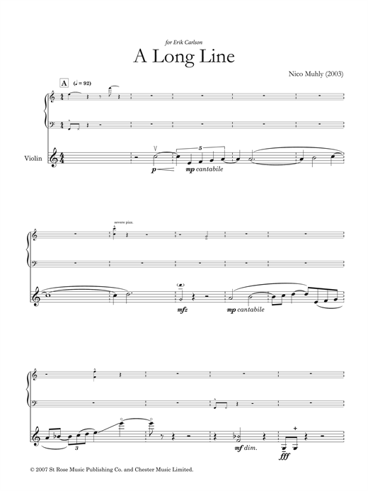 A Long Line (for solo violin and electronics) Sheet Music