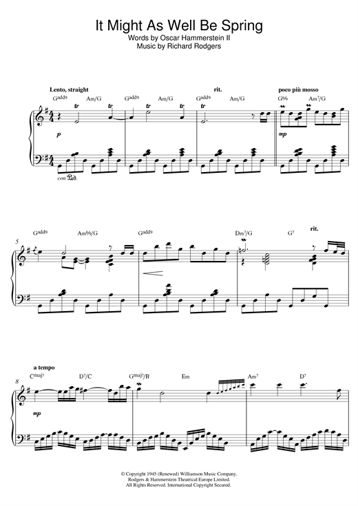 It Might As Well Be Spring (from 'State Fair') Sheet Music