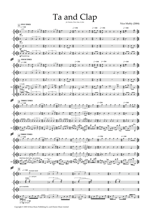 Ta and Clap (for percussion ensemble) Sheet Music