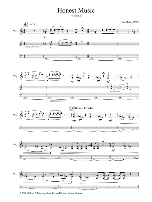 Honest Music (for violin and electronics) Sheet Music