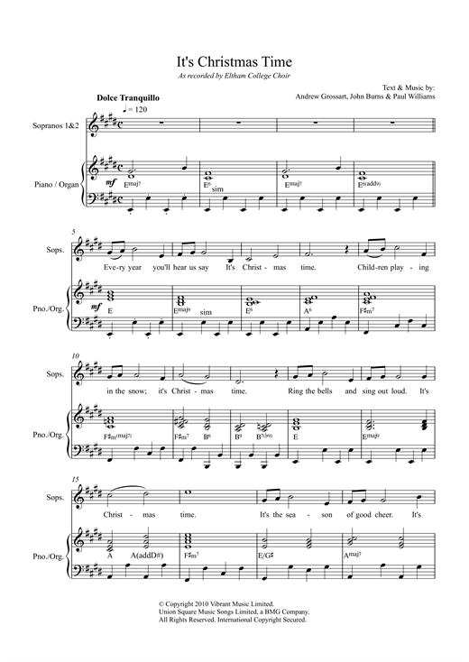 It's Christmas Time Sheet Music