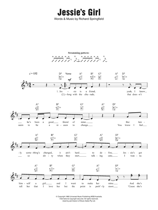 Jessie's Girl Sheet Music
