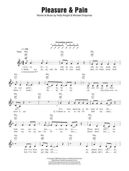 Pleasure and Pain Sheet Music