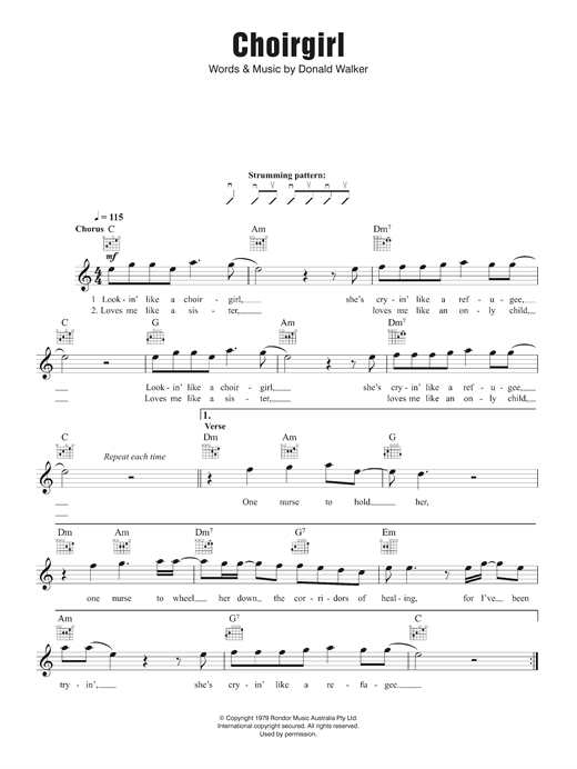 Choirgirl Chords By Cold Chisel Melody Line Lyrics Chords 124331