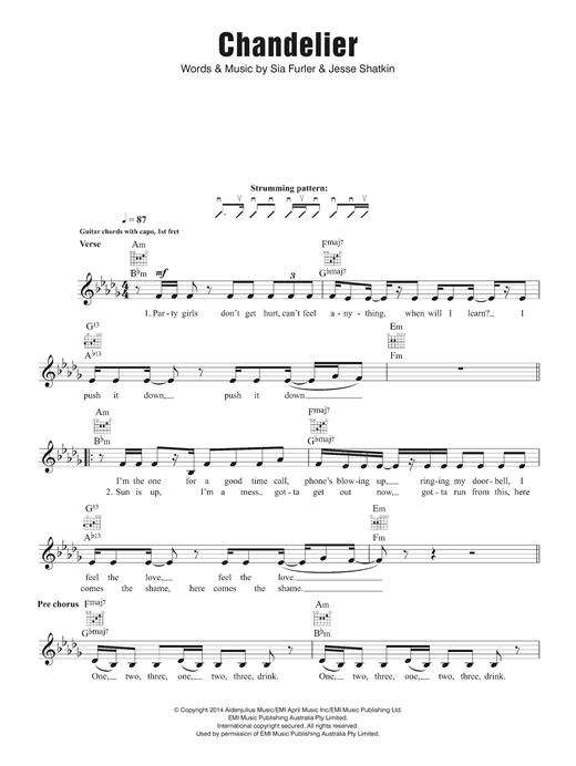 Chandelier chords by Sia (Melody Line, Lyrics u0026 Chords u2013 124333)