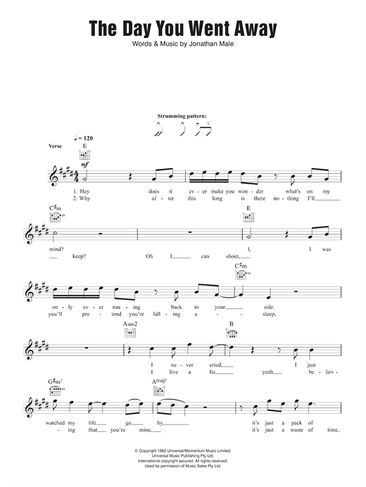 The Day You Went Away Sheet Music