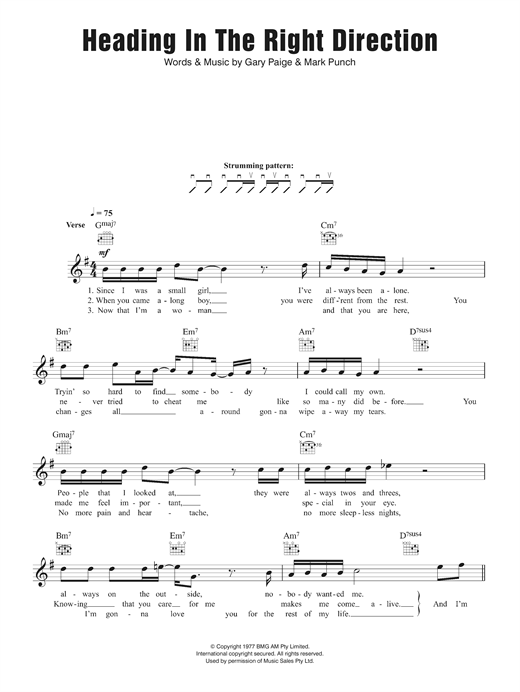 Heading In The Right Direction Sheet Music