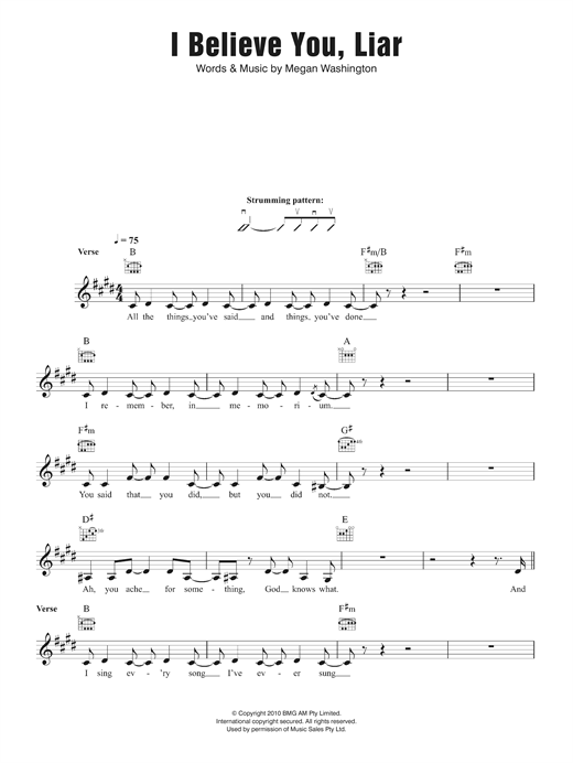 I Believe You Liar (Lead Sheet / Fake Book)