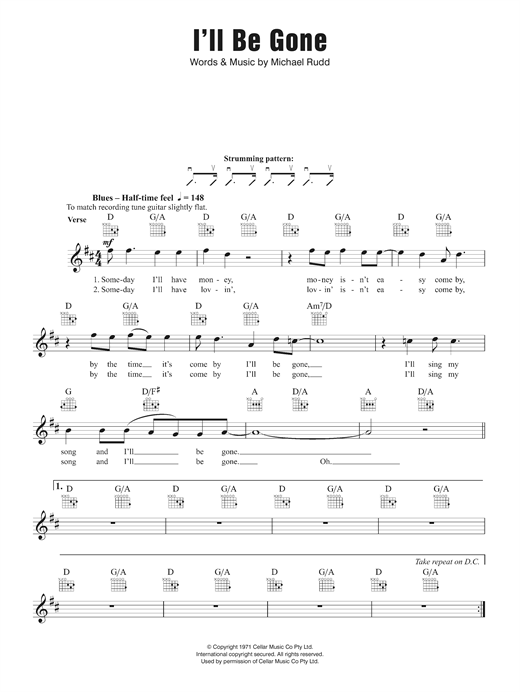 I'll Be Gone Sheet Music