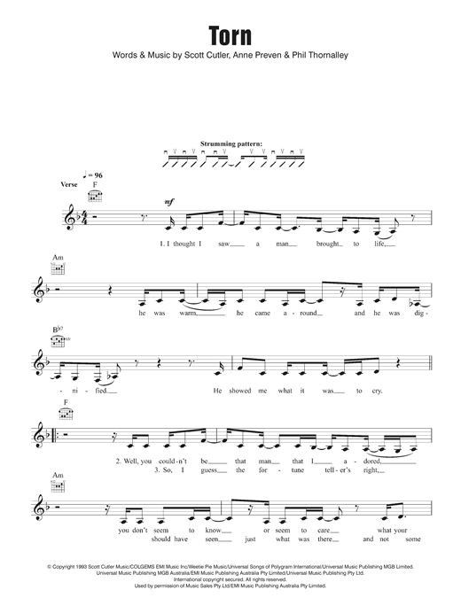 Torn chords by Natalie Imbruglia (Melody Line, Lyrics & Chords – 124356)