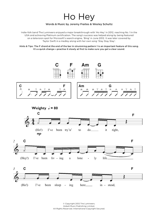 Ho Hey Sheet Music By The Lumineers Beginner Ukulele 124398