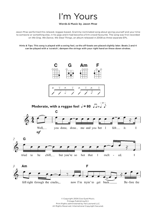 I'm Yours Sheet Music