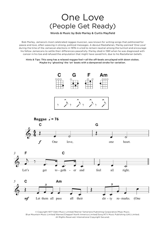One Love (People Get Ready) Sheet Music