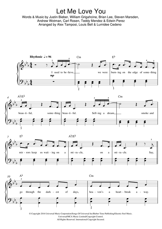 Let Me Love You Piano Sheet Music Ibovnathandedecker
