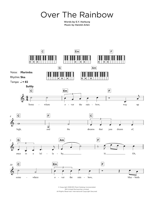 "Over The Rainbow (from ""The Wizard Of Oz"") Sheet Music"