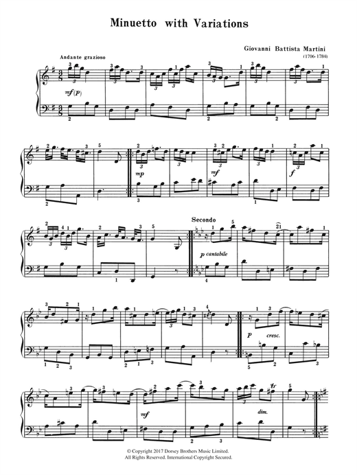 Minuetto With Variations Sheet Music