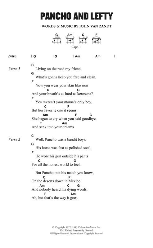 Pancho and Lefty Sheet Music