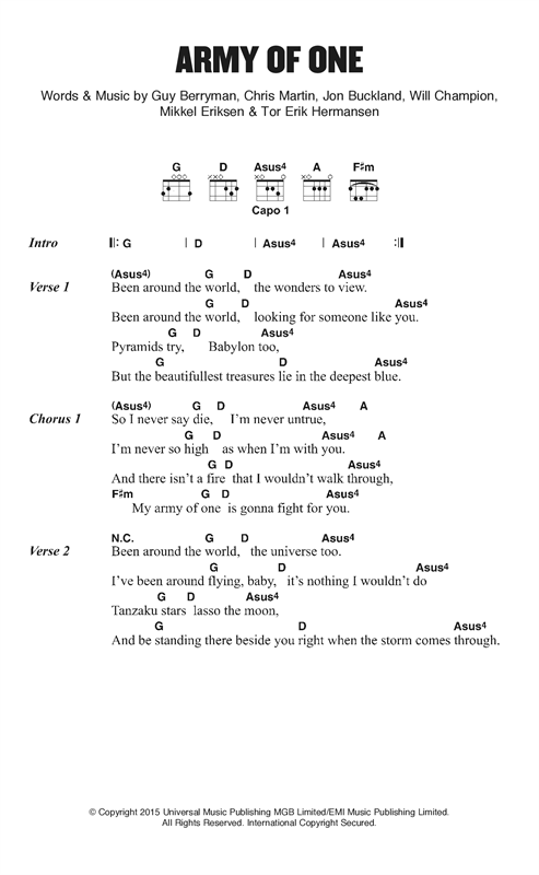 Army Of One Sheet Music