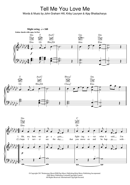 Tell Me You Love Me piano sheet music by Demi Lovato - Piano Voice ...