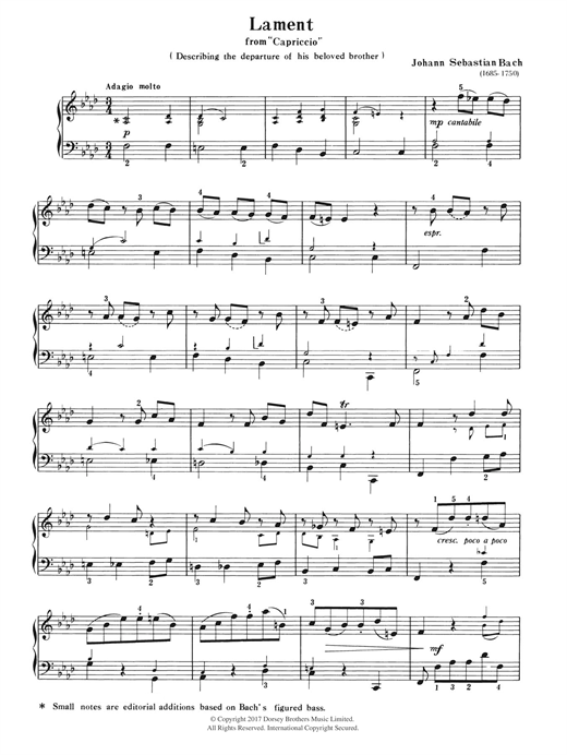 Lament (from Capriccio) Sheet Music