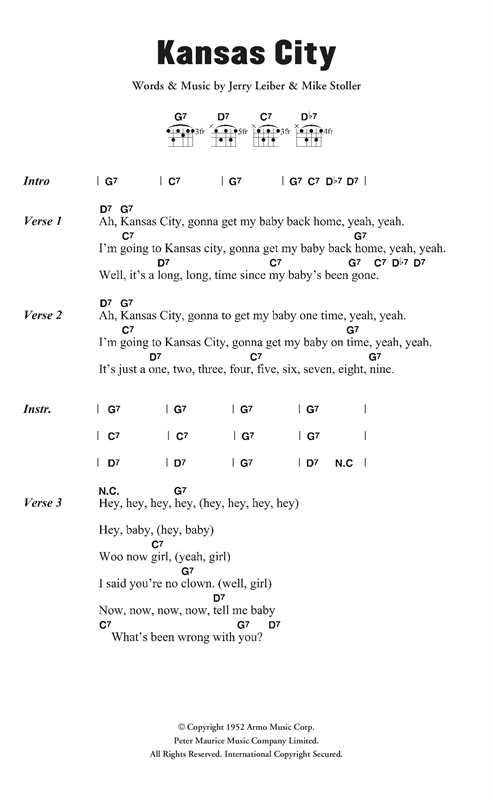 Kansas City (Guitar Chords/Lyrics)