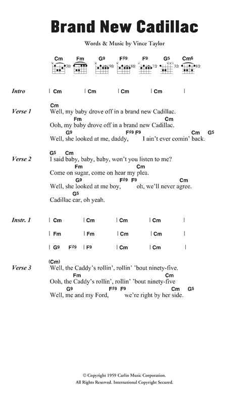 Brand New Cadillac Sheet Music