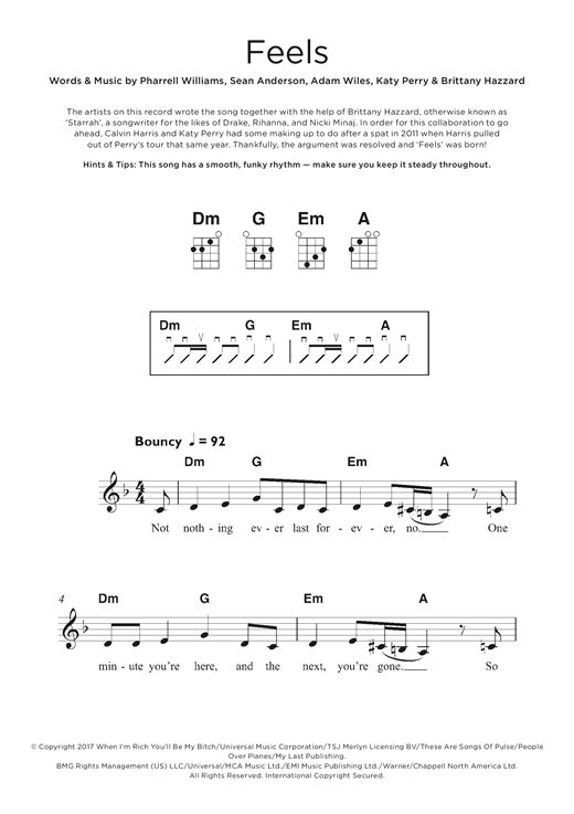 Feels (feat. Pharrell Williams, Katy Perry & Big Sean) Sheet Music