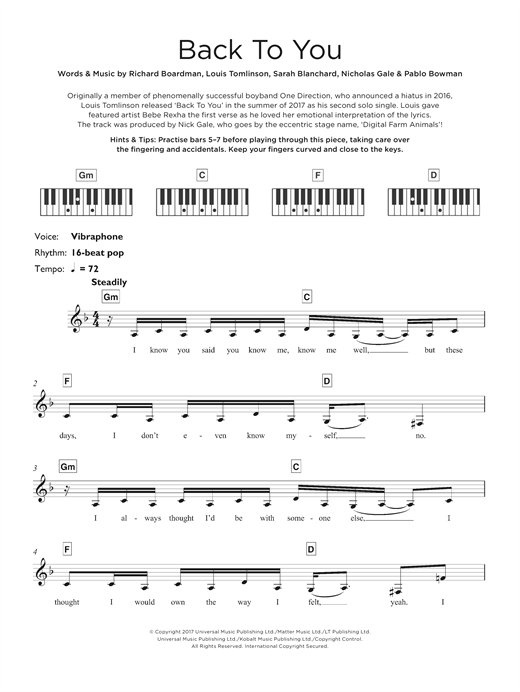 Back To You (feat. Bebe Rexha & Digital Farm Animals) Sheet Music