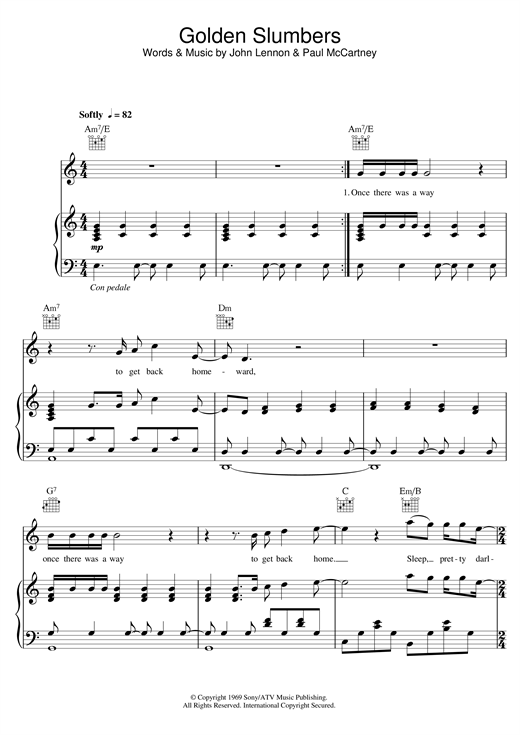Golden Slumbers (Piano, Vocal & Guitar (Right-Hand Melody))