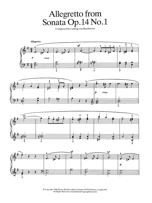 Allegretto from Sonata Op. 14, No. 1 Sheet Music