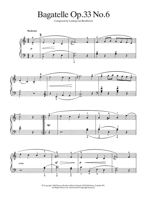 Bagatelle Op.33, No.6 Sheet Music
