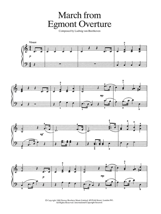 March from Egmont Overture Sheet Music