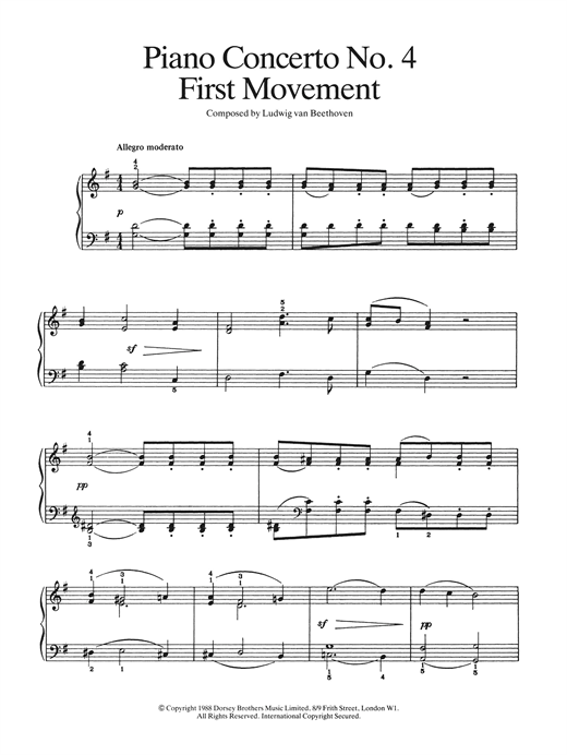 Piano Concerto No.4 In G Major, First Movement Sheet Music
