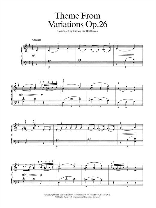 Theme from Variations Op. 26 Sheet Music