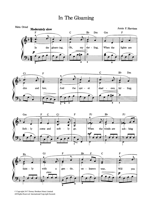 In The Gloaming Sheet Music