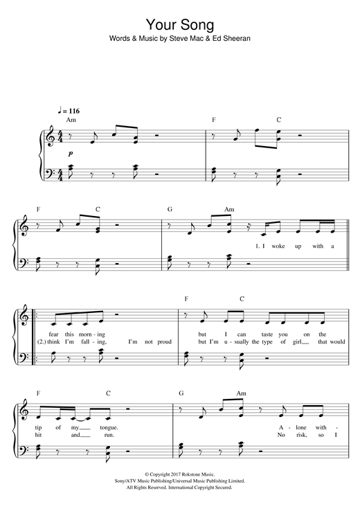 Your Song (Easy Piano)