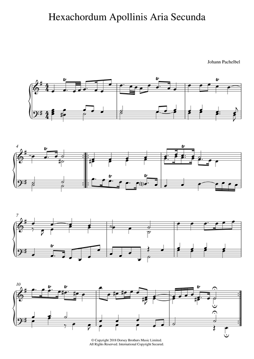 Hexachordum Apollinis: Aria Secunda Sheet Music
